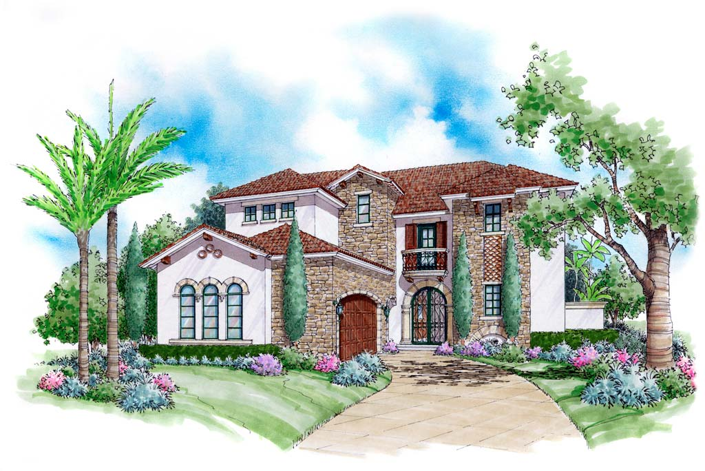 Ferretti home plan 6786 sater design nadeau stout for Sater com